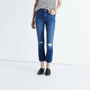 Madewell High Riser Demi Boot Jeans 30 distressed